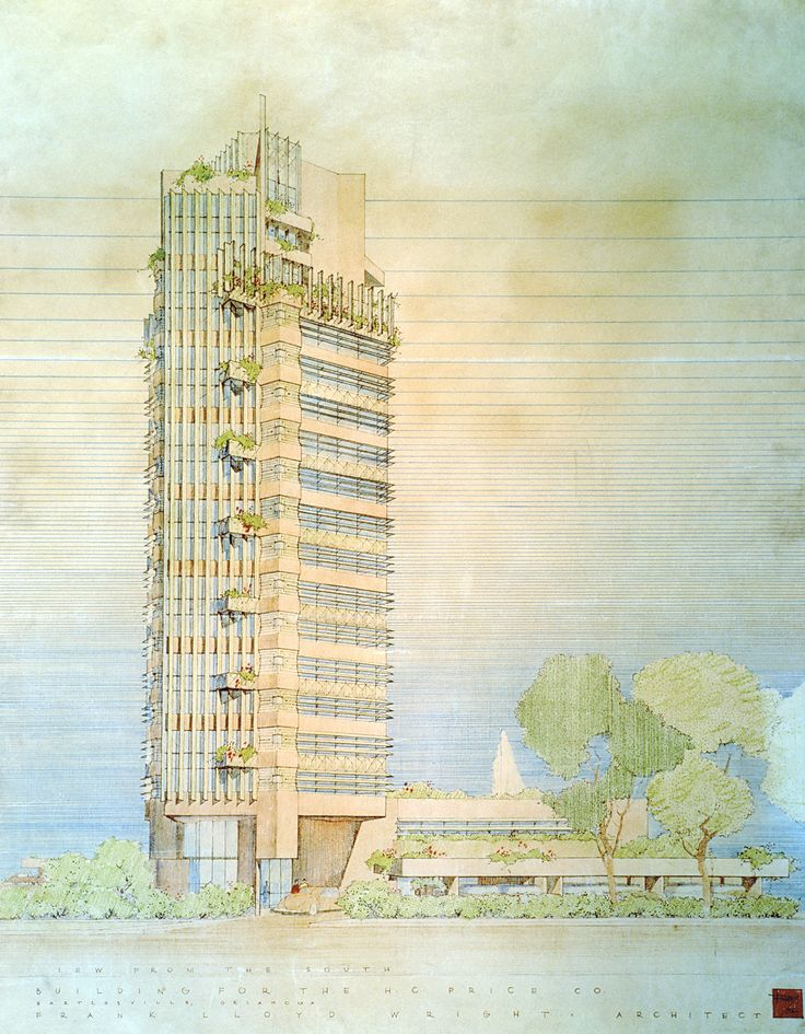 299 best images about architecture flw renderings on for Frank lloyd wright oklahoma
