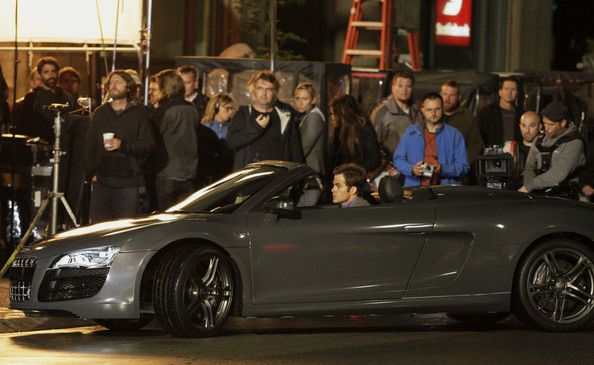"""Actress Reese Witherspoon and Chris Pine film a scene for """"This Means War"""" outside the Barcelona nightclub in Vancouver, Canada."""