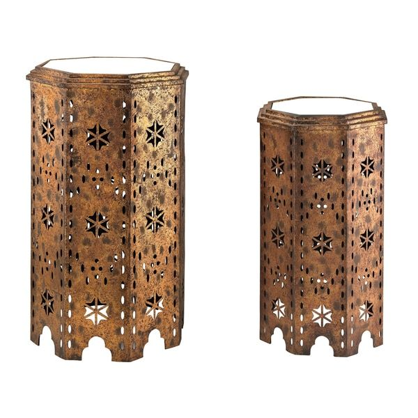 Essouria 2 Piece Moroccan Mirrored Top Side Table By Sterling Industries