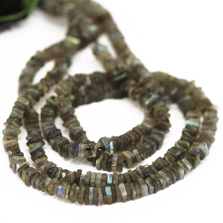 Blue Labradorite Smooth Heishi Cube Beads Strand - 4.5mm 5mm - 16 Inches