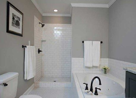 Subway Tile Shower Nice Gray Tone Paint Oiled Bronze