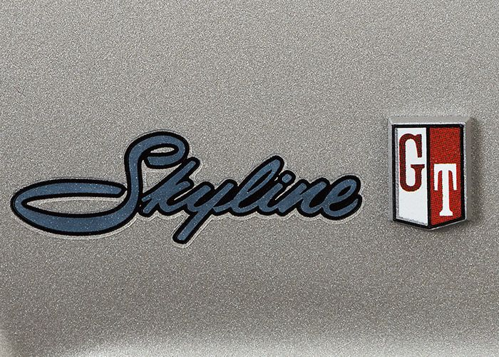 Skyline logo and GT badge shiny side