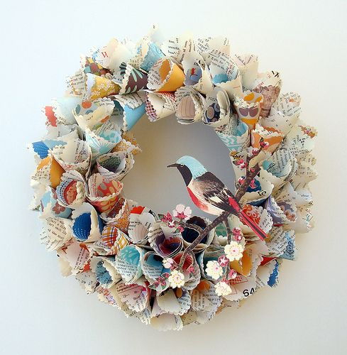 Paper/ book page wreath with bird