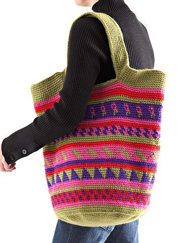 Pretty Patterned Crocheted Tote Use our free crochet patterns and instructions to make this colorful, eye-catching tote. ༺✿ƬⱤღ  http://www.pinterest.com/teretegui/✿༻