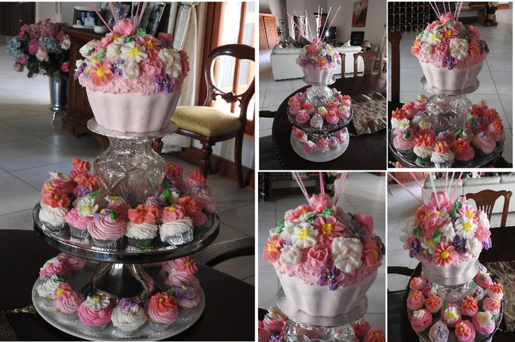 My first ever attempt at making buttercream cake decorations. Love the big Cupcake!