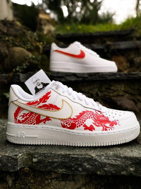 Alboroto Asesor cometer  Custom sneakers Nike Air Force 1 'Red dragon' in 2020 | Custom shoes diy,  Personalized shoes, Custom sneakers diy