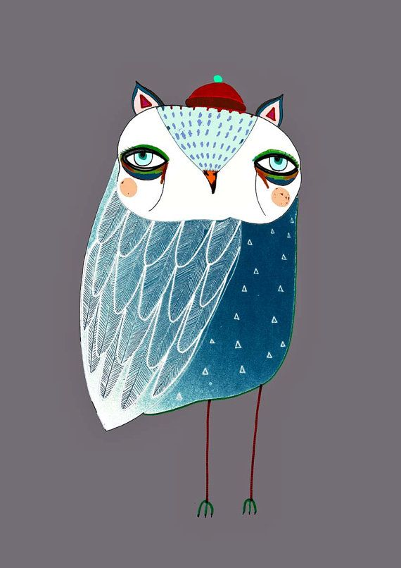 Blue Night Owl. Illustration Art Print. Owl por AshleyPercival