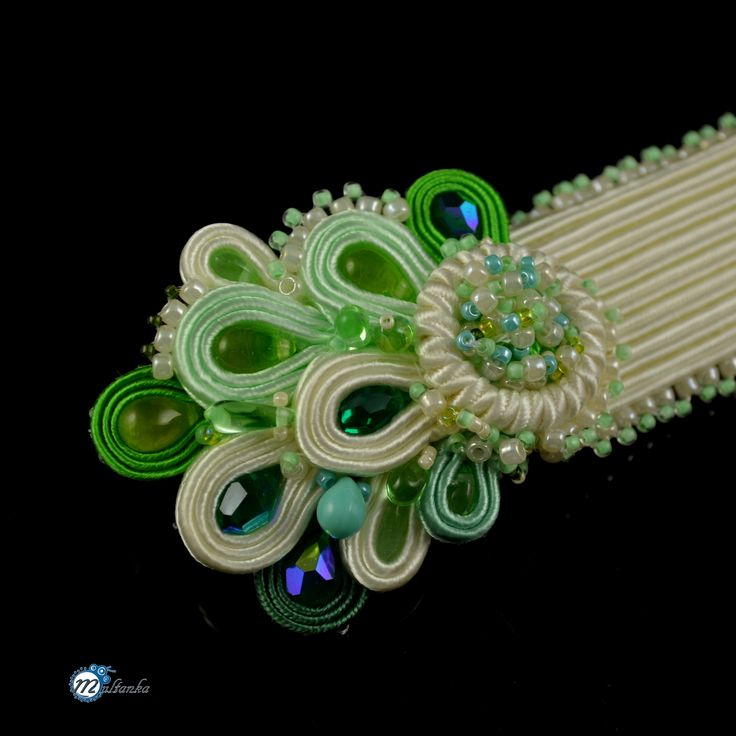 Biżuteria ślubna - Multanka - art soutache jewellery  Ecru with mint - bracelet for spring bride
