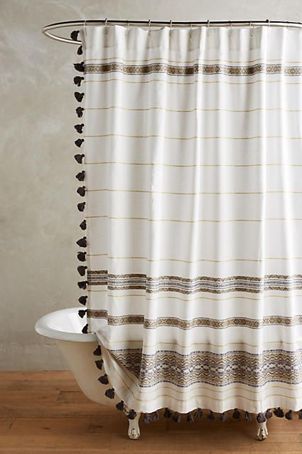 Netural Shower Curtain with pom poms: Bed & Bath | Pink Little Notebook