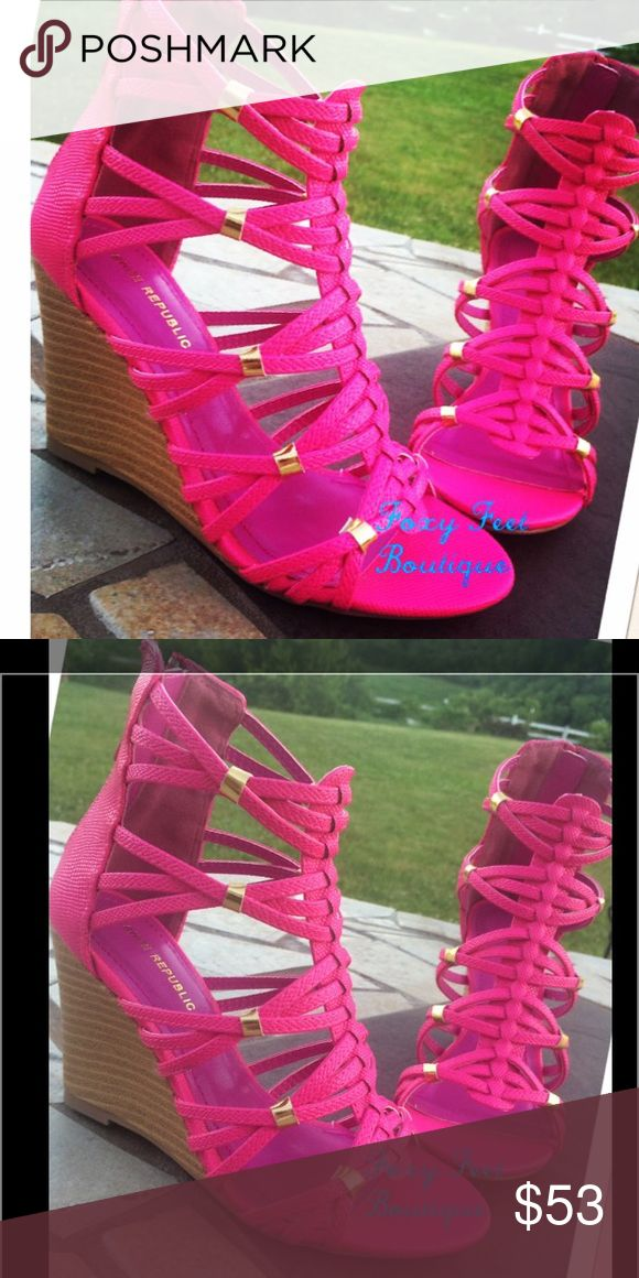 Hot Pink Wedges This Fun and Cute Hot Pink Wedge has a 3 inch wooded heel, perfect for summer picnics Shoes Wedges