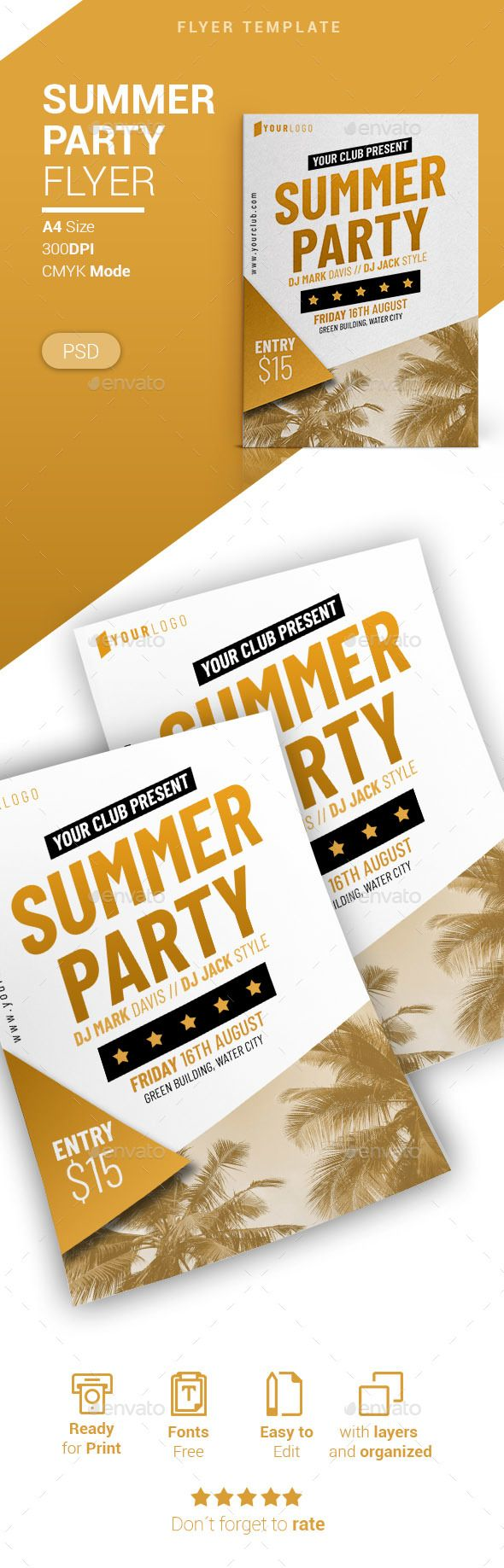 Summer Party Flyer Design Template PSD. Download here: graphicriver.net/...