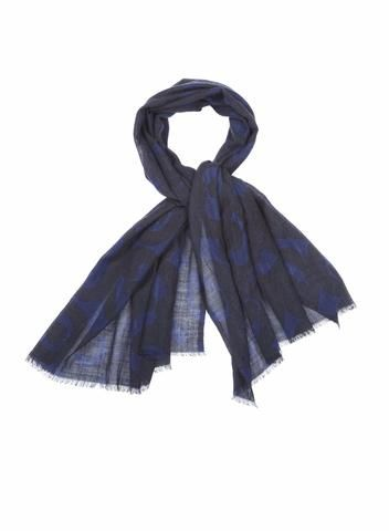 MARIMEKKO KISSAPOLLO SCARF NAVY, BLACK  #cat #owl #scarf #wool #blue #black #blackandblue #abstract #shadow #classic #marimekko #pirkkoseattle #pirkkofinland