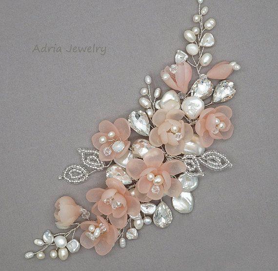 Cheveux Bridal rose pièce Blush mariage Head Piece or peigne mariée, perles, accessoires pour cheveux mariée vigne de mariage pour mariées T1602051