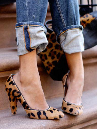 leopard pumps + cuffed denim