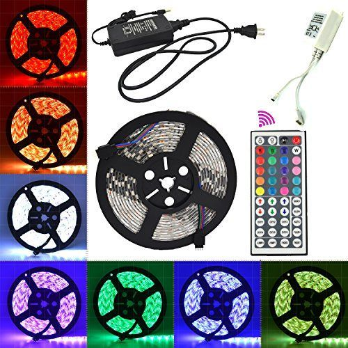 LHI 5050 RGB LED Strip Light Kit Waterproof 164ft 300LEDs Color Changing SMD5050 RGB LED Tape Light Including a 44key RGB Remote Control  a 12VDC5A Power Supply *** Check out this great product.