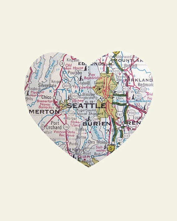 A map of Seattle in the shape of a heart so cute Seattle