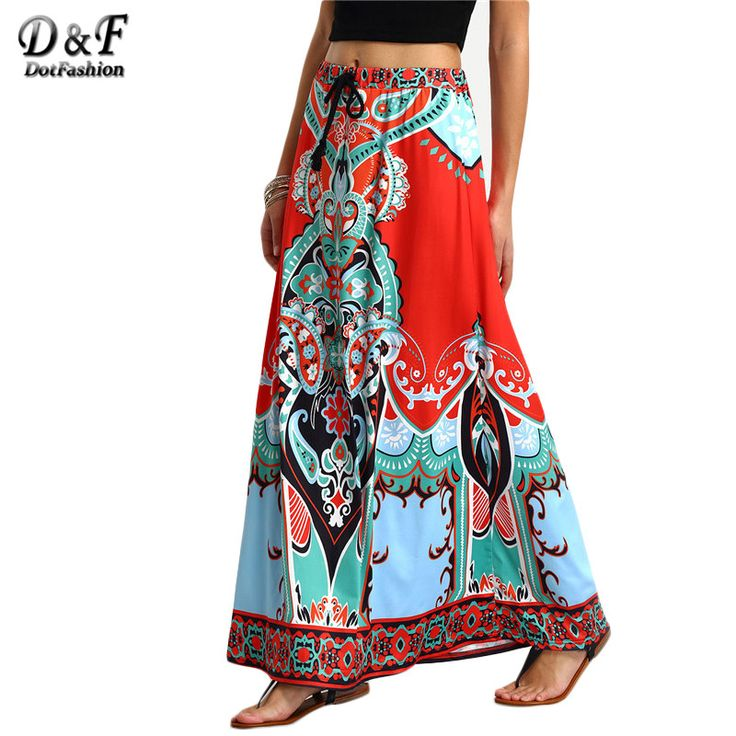 Dotfashion Vintage Ladies Summer Style Printed Woman New Arrival 2016 Shift Long Skirts Women Tribal Print Tied Waist Maxi Skirt-in Skirts from Women's Clothing & Accessories on Aliexpress.com | Alibaba Group