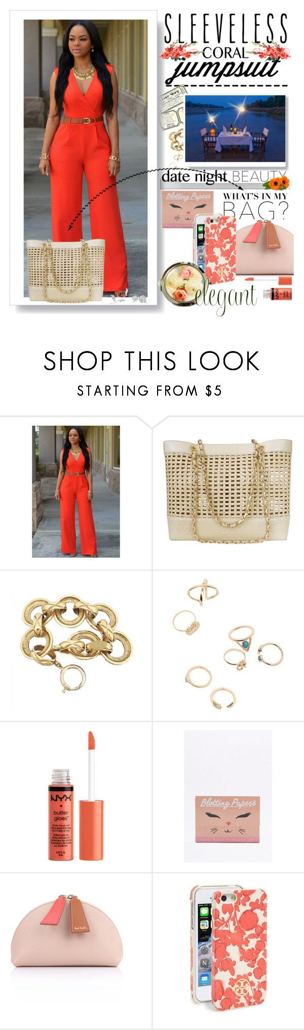 """""""Sexy Coral Jumpsuit"""" by jay-sigala ❤ liked on Polyvore featuring Chanel, Polaroid, Paul Smith and Tory Burch"""