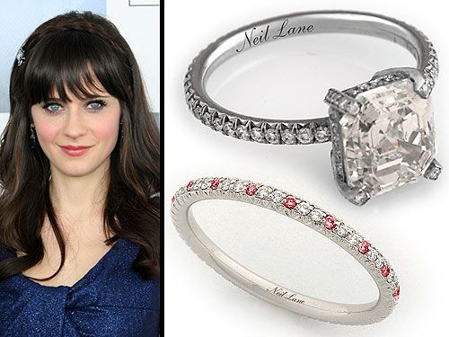 zooey deschanel's ring: geometric.  could it be sharper?    a bit of a chunky diamond which is probably just right for this FG.  and some staccato color on the band.