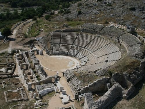 Ruins of the theater in the ancient Macedonian City of Fillipi, Greece