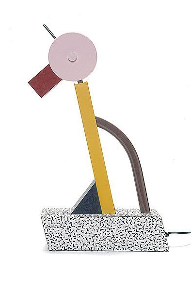 "Tahiti lamp: designed by Ettore Sottsass  in 1981 for Memphis, Italy. Polychrome enameled metal ""duck"" with pivoting head mounted on a black and white confetti-patterned laminate base.  Size: 26.38"" x 14.96"" x 3.94""; Price:$1,490.00"