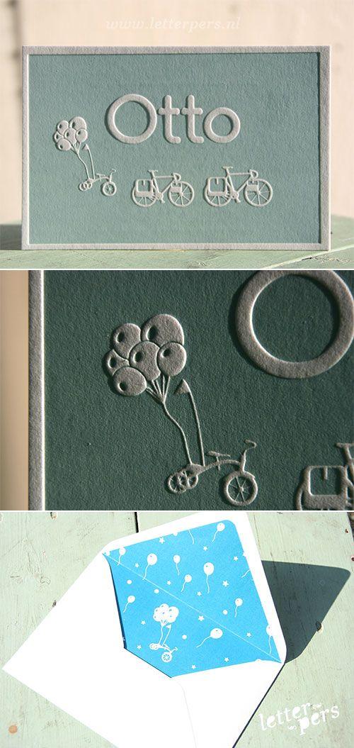 letterpers_letterpress_Geboortekaartje_Otto_blauw_groen_fiets_ballon_enveloppe