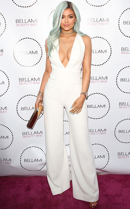 Kylie Jenner Debuts New Ice Blue Hair In a Plunging White Jumpsuit