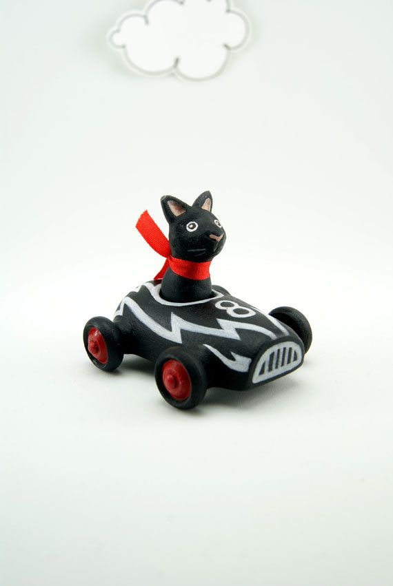 Black Cat in Miniature Car, Toy Car, Black and Red, One of a Kind. $40.00, via Etsy.