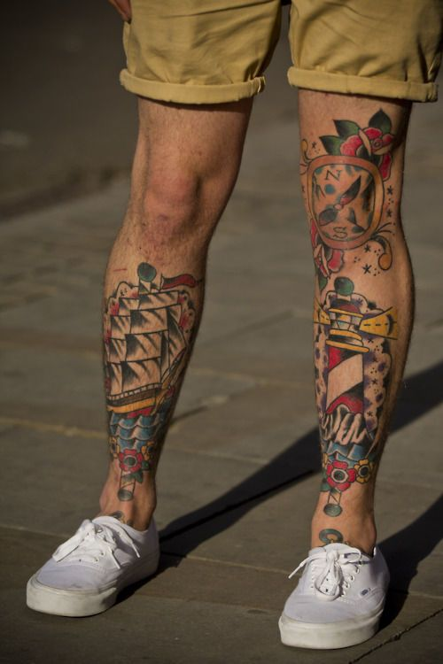 """tattoo oldschool lighthouse, ship, compass and rose. You have to have the right """"look"""" for leg tats as a guy"""