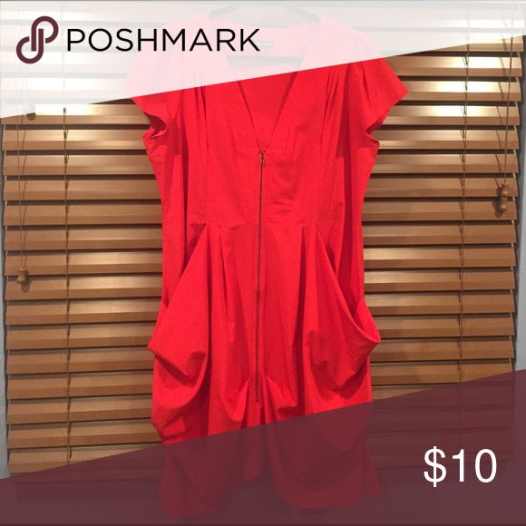 Dress Super sexy, low cut red tunic dress...with pockets! City Chic Dresses Midi