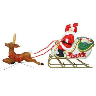 Christmas Lighted Decoration | Santa/Sleigh/Reindeer Blow Molded Decor | MADE IN USA - American Sale