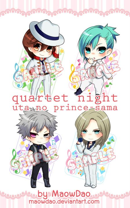 FanArt from Uta no Prince-sama QUARTET☆NIGHT Reiji , Ai , Ranmaru and Camus 4 pieces / Set Single-side laminated with ball-chain size : ~ 6 cm