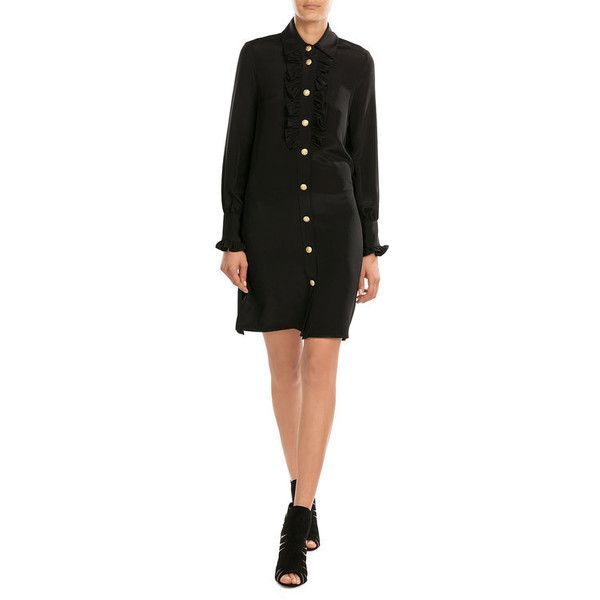 Paul & Joe Silk Dress with Ruffles (27,445 INR) ❤ liked on Polyvore featuring dresses, wetlook dress, button front shirt dress, flounce dress, silk dress and wet look dress
