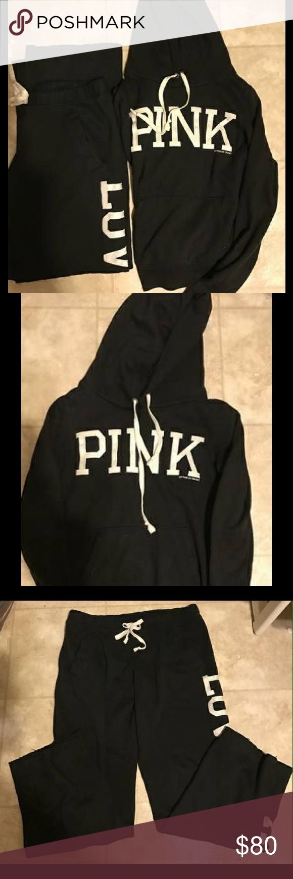 Womans Pink Victoria Secret Sweatshirt/Sweatpants They are both a size medium, color is black and white, both are in mint condition, no holes or stains,both for 80 PINK Victoria's Secret Tops Sweatshirts & Hoodies