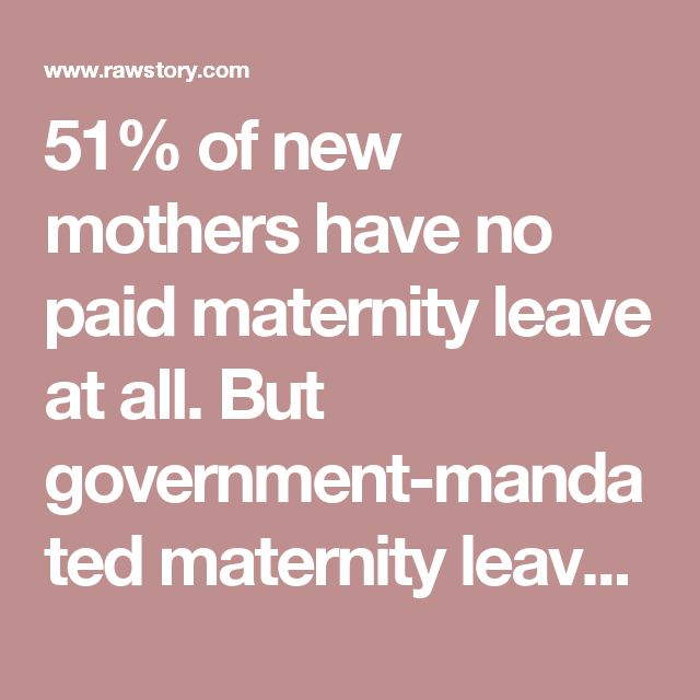 51% of new mothers have no paid maternity leave at all. But government-mandatedmaternity leave is the norm in other developed countries, including the Netherlands (112 days at 100% pay), Italy (140 days at 80% pay), Switzerland (98 days at 80% pay) and Germany (98 days at 100% pay).