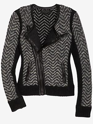 tweed side zip cardigan