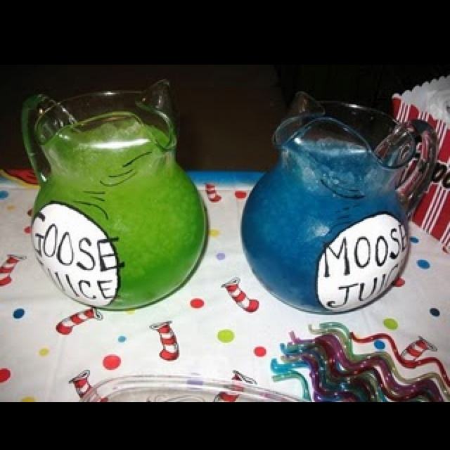 Cute drink idea for a Dr. Seuss party.- yes I will be having a De Seuss party.. One day :)