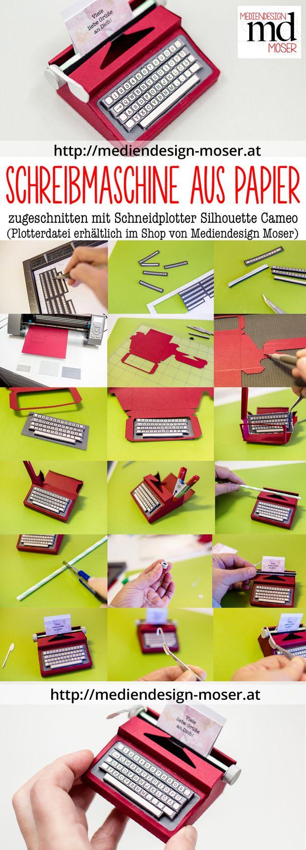 Eine Papier-Schreibmaschine mit dem Schneidplotter von Silhouette Cameo zuschneiden.