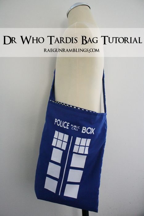 Step by step instructions for how to make your own Dr Who Tardis bag at Rae Gun Ramblings
