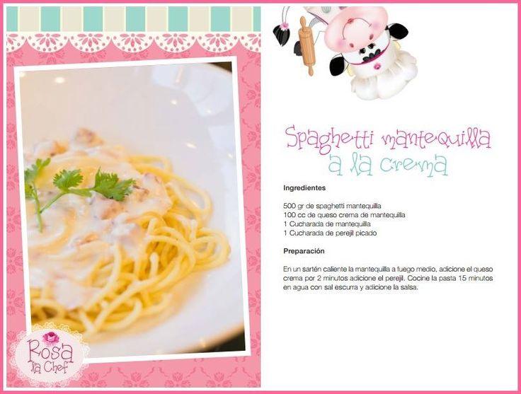 Spaghetti Mantequilla a la crema.