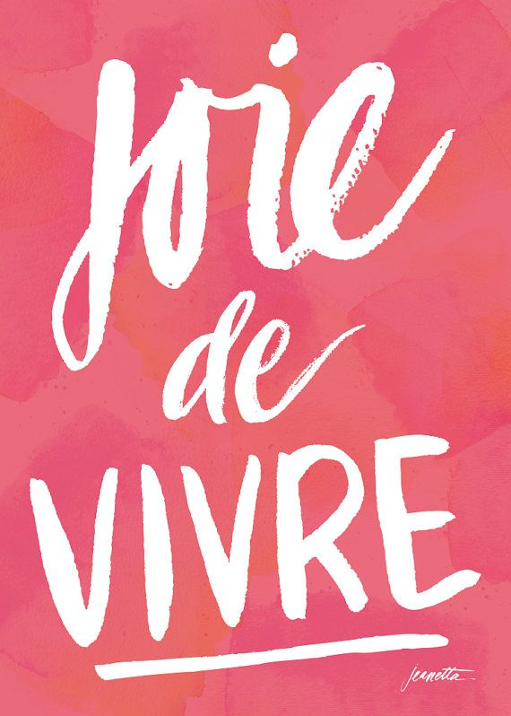 8x10 Joie de Vivre hand lettered poster Pink by JeanettaGonzales, $22.00