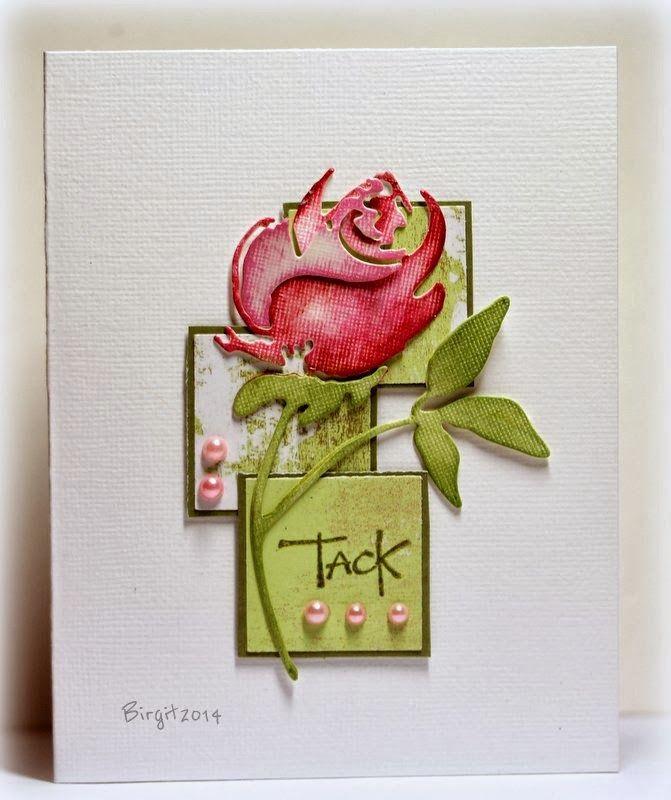 Thank you card using Penny Black rose die.  Rapport från ett skrivbord 1.30.14