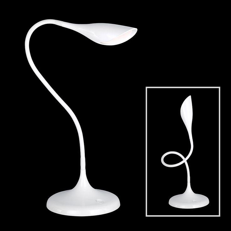 Flexible Tischleuchte in Kunststoff weiß mit LED-Technik