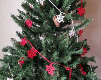 Crochet Christmas Garland Snowflake Garland от MikelinaArt на Etsy