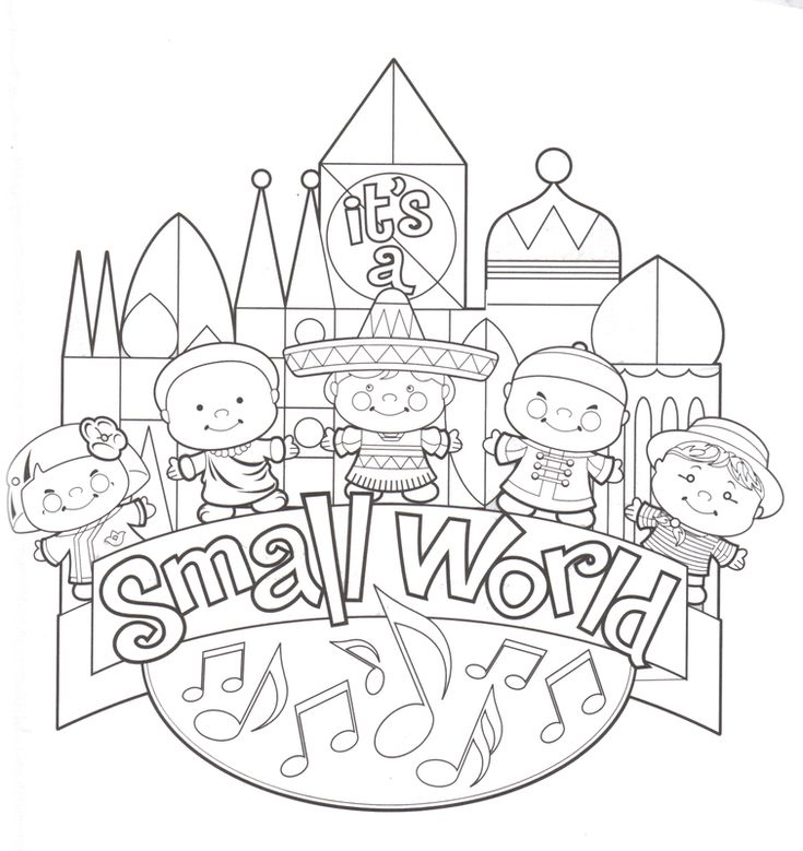 It's a Small World coloring page printable // Imprimible para colorear del pequeño mundo