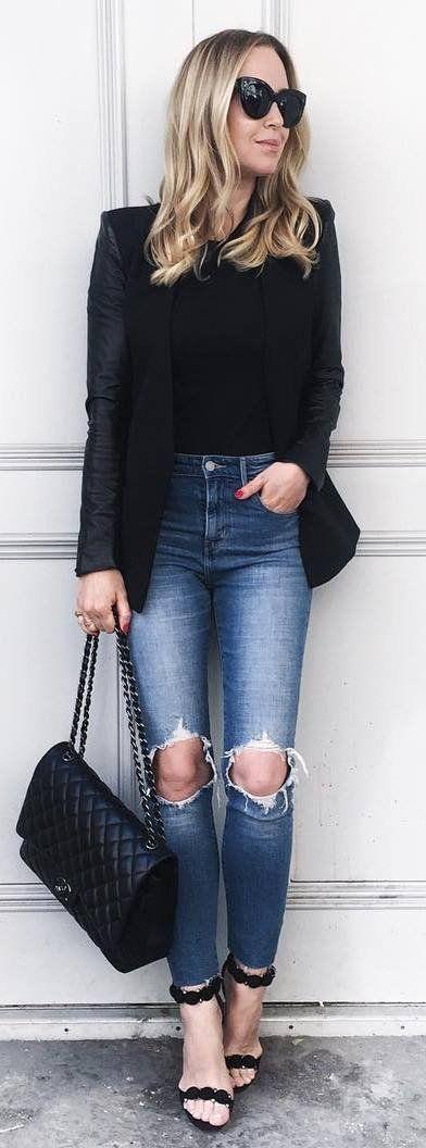 stylish look | black top + blazer + bag + rips + heels