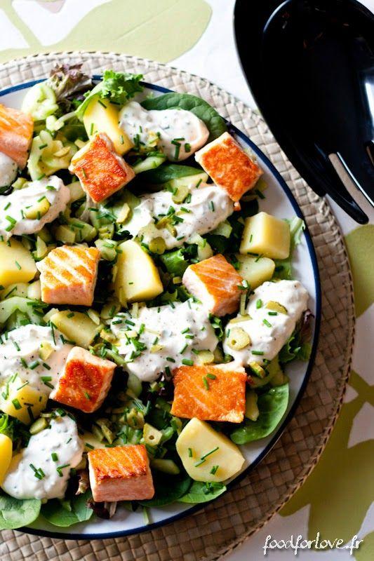 Voir tous les détails de la recette sur Food for Love       Ingrédients :   Pour la salade :     5 pommes de terre moyenne coupées ...
