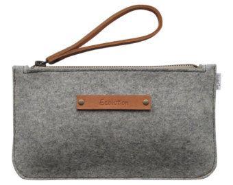 Minimalist Wool felt clutch- iPhone wallet.Size M.Durable-Handmade in Switzerland- Silver grey - classy Design-Leather strap
