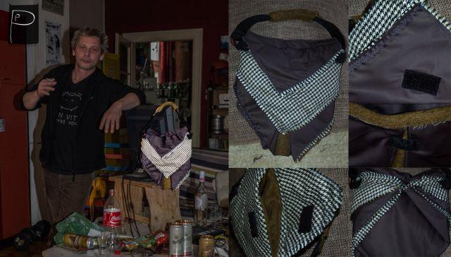It is a reticule with two compartments.  bag made:  impregnated fabric, fake fur and cotton ( with typical  costume pattern)