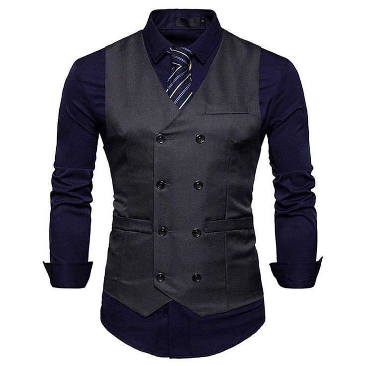 Men's Vintage Slim Fit Solid Color Double-Breasted Suit Vest V-Neck Dress Waistcoat for Wedding Nightclub